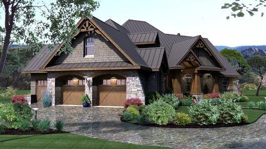 Detail House Plan Cottage Country Craftsman European - Craftsman house plans with 3 car garage