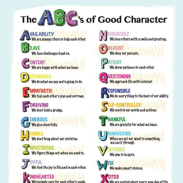 Good character is made up of many qualities. Here's an ABC list of character traits we can aspire to teach our children.