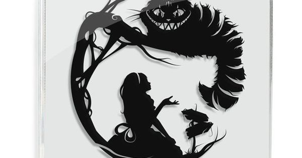 Alice in Wonderland // Cheshire Cat - hand cut paper art // fantasy storybook disney wall artwork silhouette paper illustration | Disney i Kot z cheshire