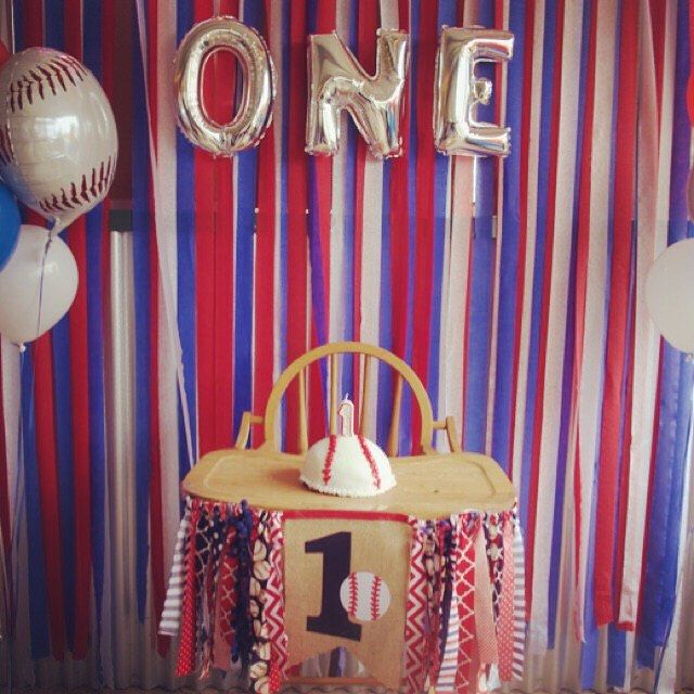 One 1 baseball first birthday highchair party decoration for cake smash photo prop by MsRogersNeighborhood Etsy shop ❤️⚾️