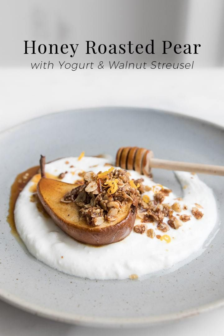 We're falling for brunch with two recipes in one, highlighting Honey Roasted Pears with Yogurt & Walnut Streusel. A simple yet elegant dish, these roasted pears no matter how you serve them, are a true representation of fall in every bite with crisp and nutty streusel, decadent and rich pears baked in a spiced glazed, all encompassed with a blast from the tangy yogurt. Plus, styling these dishes is almost as fun eating them, both with a distinct plating. #BeautifulFood #Breakfast #Brunch…
