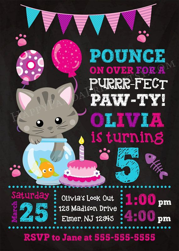 KITTY Invitation, Kitty Birthday Party, Kitty Birthday Invitation, Cat Chalkboard Invitation, Cat Birthday Party, Kitten Invitation, Kitty Invite, Kitten Birthday Party, Girls Birthday Party Invitations by Happy Panda Print #kitty #cat #kitten #birthday #party #invitations #happypandaprint