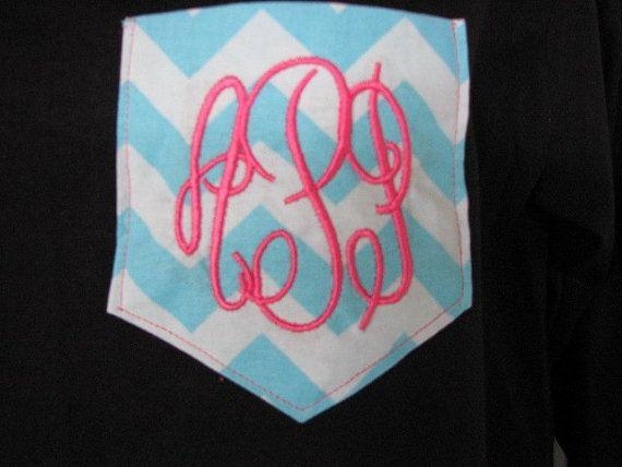 Monogram long sleeve tshirt shirts t chevron pocket