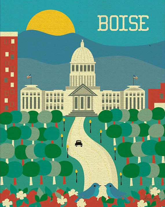 Boise Idaho Skyline  Vertical American City Wall by loosepetals