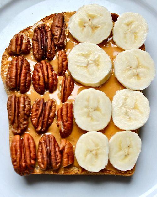 peanut butter, walnut and banana on bread