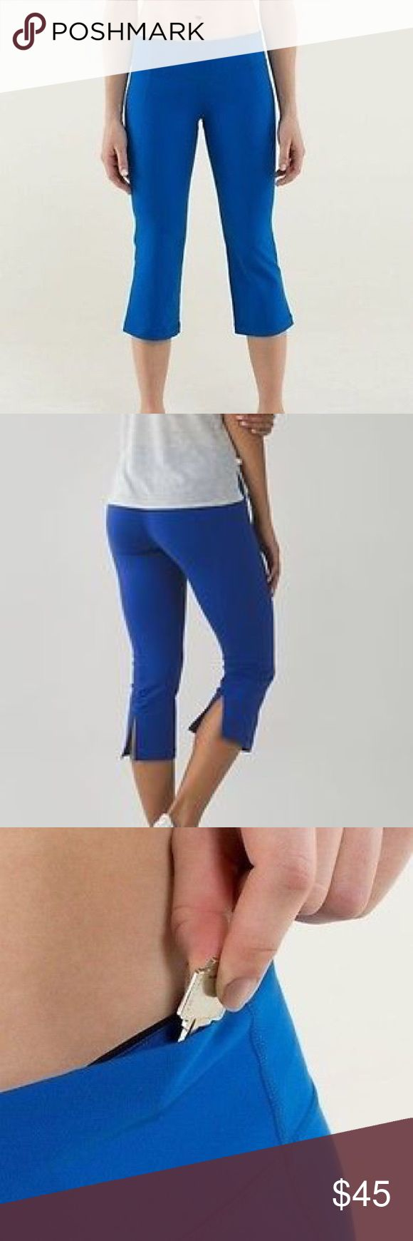 Lululemon Electric Blue Gather & Crow Capri Pants Lululemon Gather and crow electric blue Capri pants size 6. Mint condition.   A tight-knit version of our Luon® fabric, sweat-wicking Full-On® Luon is four-way stretch and provides incredible support and coverage  incredible support and coverage sweat-wicking four-way stretch cottony-soft handfeel naturally breathable LYCRA®  Added LYCRA® fibre for great shape retention  stretch great shape retention long-lasting comfort lululemon athletica…