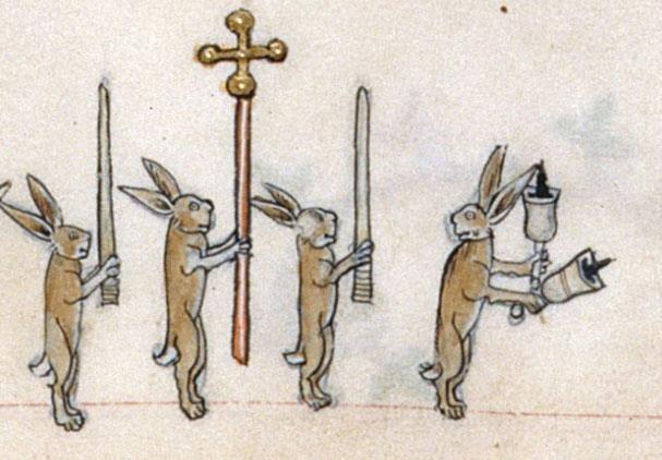 The Gorleston Psalter. 1310-1320 (British Library) -- Medieval Rabbits leading…