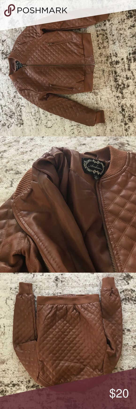 Faux Leather jacket quilted camel color Faux Leather jacket quilted camel color this jacket looks real it doesn't look fake at all it is great as a year-round jacket nice details quality small size A+ condition Jackets & Coats