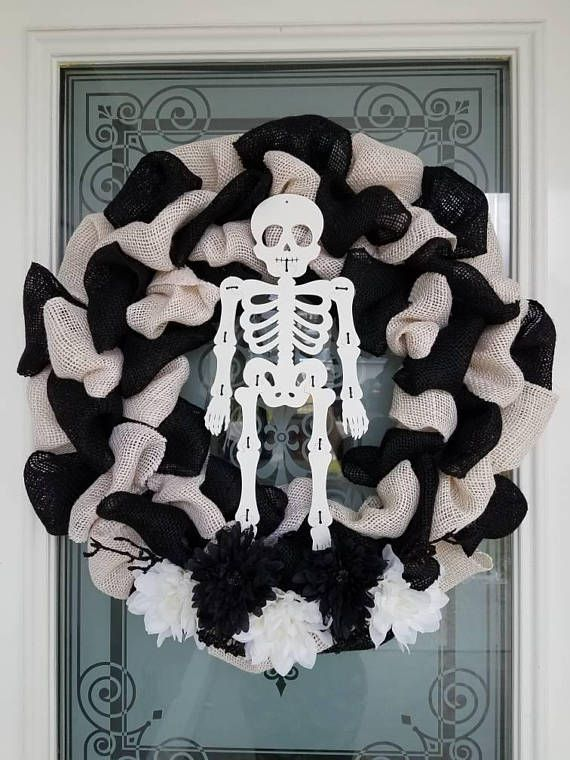 Check out this item in my Etsy shop https://www.etsy.com/listing/554327521/halloween-burlap-wreath-skeleton