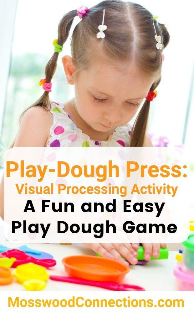Play-Dough Press Visual Processing Activity A fun and easy play dough game. #sensoryplay #playdough #gamesfortheeyes #mosswoodconnections