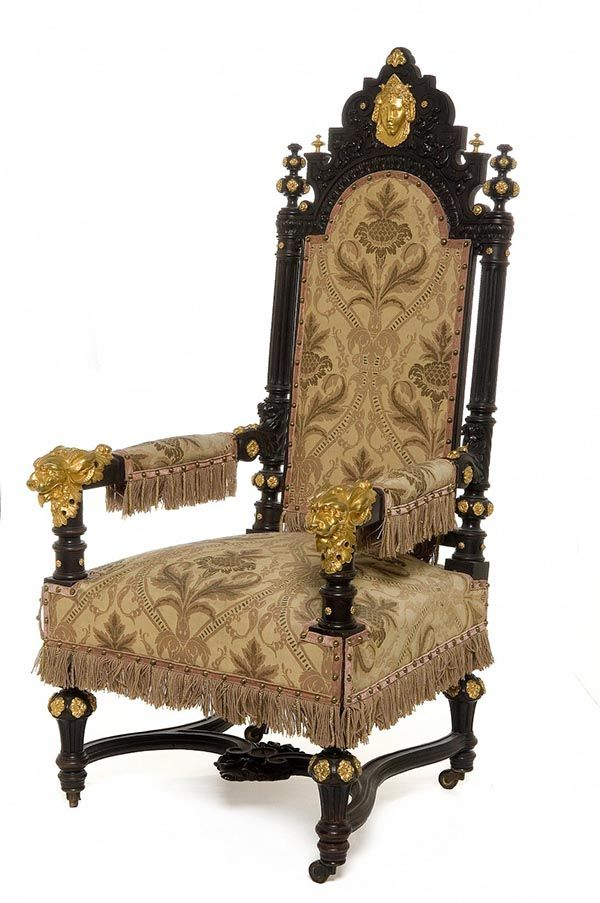 Louis-Philippe style : Ringuet Père et Fils, Armchair, c. 1839, Blackened pearwood, bronze, Detail, A bedroom under Louis-Philippe, 1836-1840, Les Arts Décoratifs, Paris.