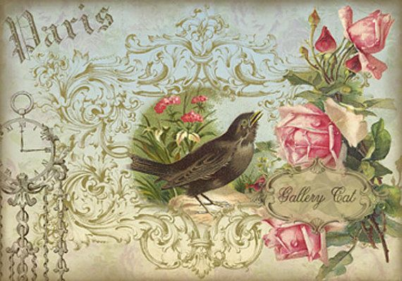 ANTIQUE CARDS I Digital Collage Sheet Romantic por GalleryCat