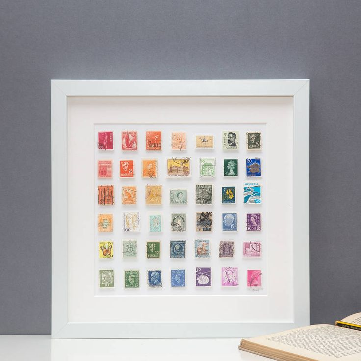 Framed Vintage Postage Stamps In Rainbow Wall Art- have lots of stamps sure I could do something similar