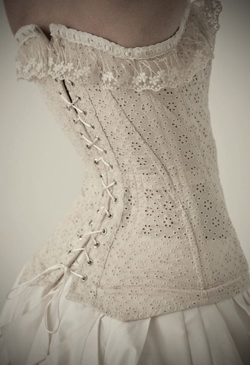 Old Lace Corset. Sometimes I think I was born in the wrong time. I love all the old outfits, entertainment, lifestyle, etc. then I think about having to use a bucket for waste and tossing it out the window and I'm glad I wasn't around back then.