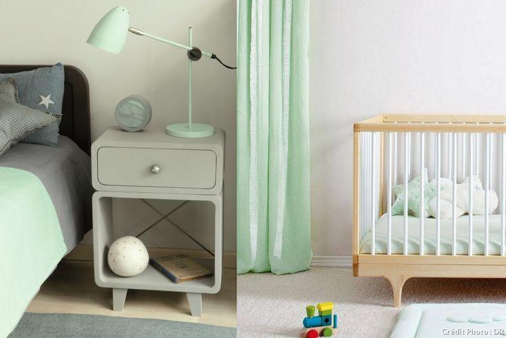 Ambiance vert menthe pour une chambre d'enfant : mélangez au gris pour décorer une chambre d'enfant, garçon ou fille. Une bonne alternative aux éternels bleu et rose ! http://ow.ly/VCvd7