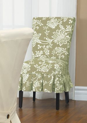 Verona Sage Midsize Dining Chair Slipcover with Buttons. Floral. Home décor, renovation.