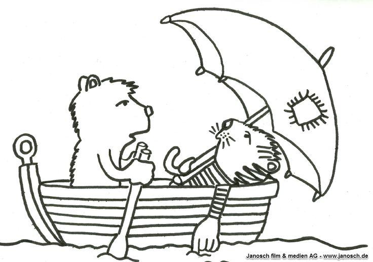 Janosch Ausmalbild Malvorlage Tiger Und Bär Im Boot Janosch