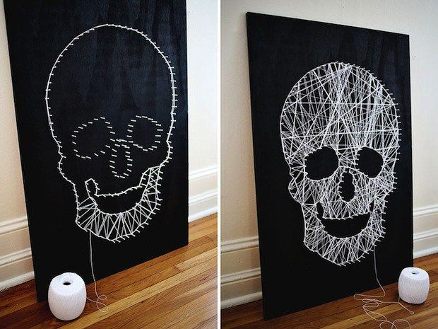 Add some spooky kitsch to your Halloween decor with this fun skull string art tutorial!