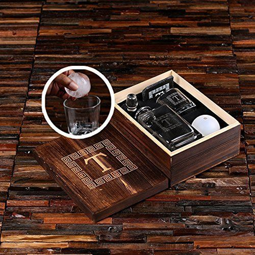 Personalized Whisky Decanter Set Including 1 Whisky Tumbler, 1 Slate Coaster and 1 Ice Ball Maker in an Engraved Wooden Gift Box - Great Gift for Men, Groomsmen, Father's Day