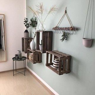 Alle Möbel : Große geflammte Wand Hängebar mit integrierter Arbeitsplatte 81x41x31cm | Obstkisten-Online Shop | Obstkisten, Weinkisten & Holzkisten kaufen
