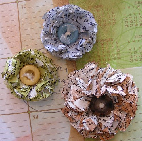 Newspaper flowers.... http://www.redtedart.com/2010/04/30/how-to-make-a-paper-flower-from-newspapers/