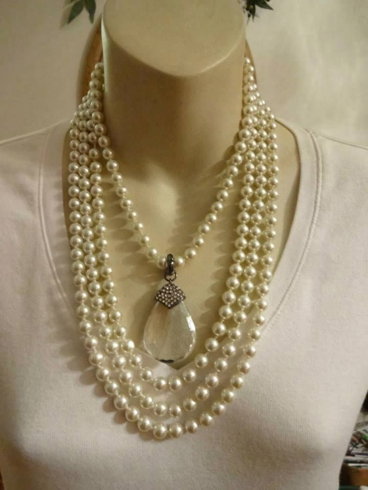 Opening Night Pearls necklace with the pendant from the Layered On necklace