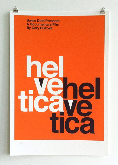 """Helvetica """"Mad Men"""" Screenprint-  Inspired by one of the original Stempel promotional posters for Helvetica (as seen on """"Mad Men"""").  Numbered edition of 100 copies, each signed by director Gary Hustwit."""