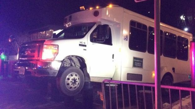 Bus stuck on Parliament Hill security bollards