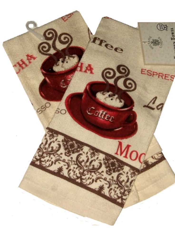 Accent your coffee themed kitchen decor with this set of 2 coffee themed kitchen towels. The background is done in cream with red coffee cups and the words espresso, latte, mocha and coffee done in red and brown. $12.95