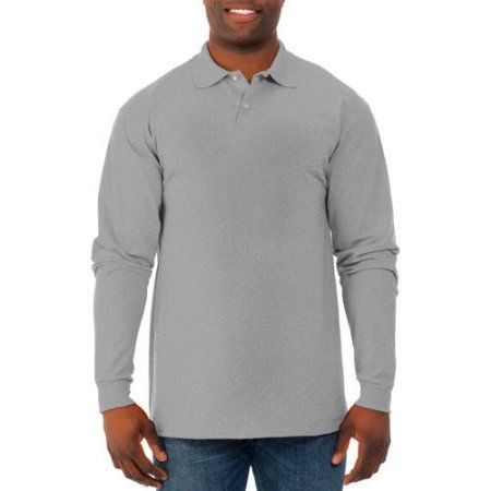 Jerzees Spot Shield Men's Long Sleeve Polo Sport Shirt, Size: Medium