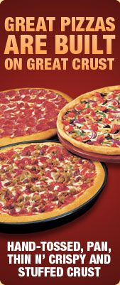 Pizza Hut pizza is the best! I love their Pepperoni, Pepperoni Lover's, Supreme, and Meat Lover's Pizza:)