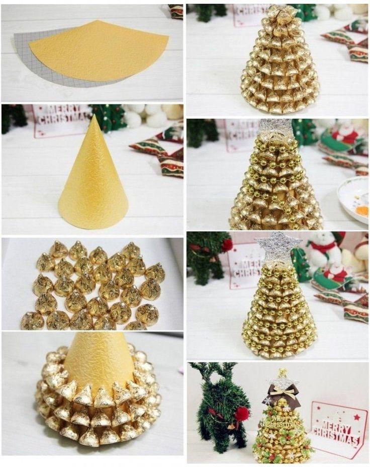 DIY Gold Hershey Kisses Tree Detalles navidad