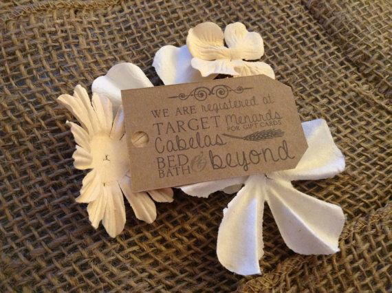 hand made country chic burlap wedding registry card