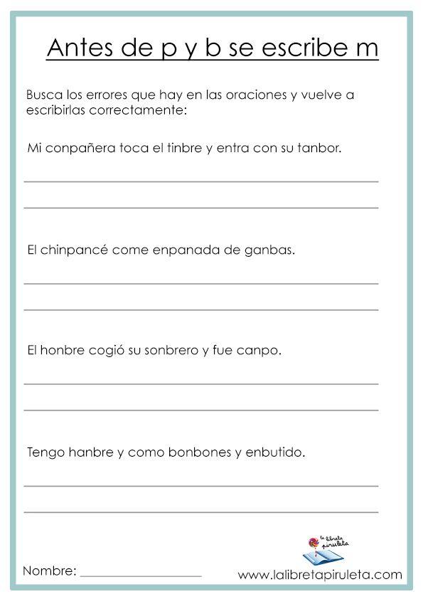 M Antes De P Y B Ortografía Escritura Primaria Actividades Imprimir Fichas Actividades De Ortografía Palabras De Ortografía Ortografía