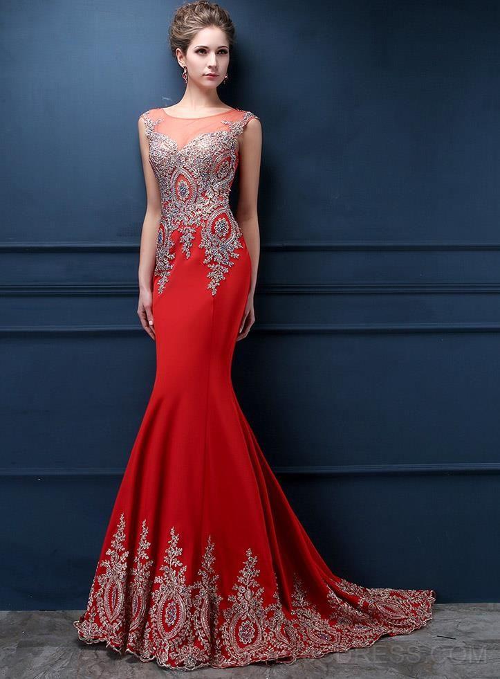 Glorious Jewel Neck Appliques Mermaid Evening Dress  3