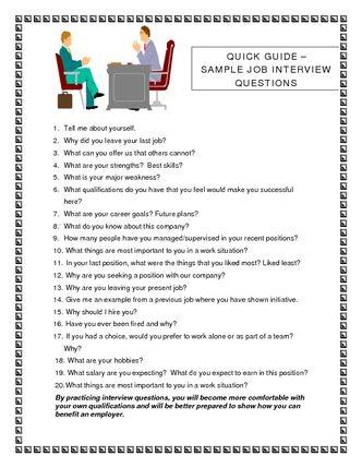 Job Interview Questions   job interview