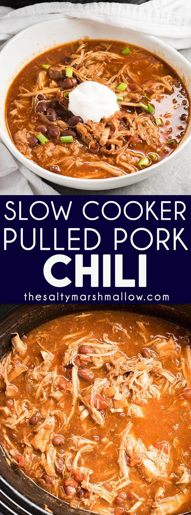 Slow Cooker Pulled Pork Chili - This amazing, sweet heat style pulled pork chili is absolutely mouthwatering!  Everything you love about pulled pork made into a hearty chili that's packed with BBQ flavor and perfectly hearty for those cold fall and winter evenings!