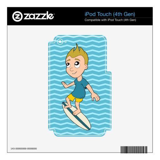 Surfing boy cartoon iPod skin