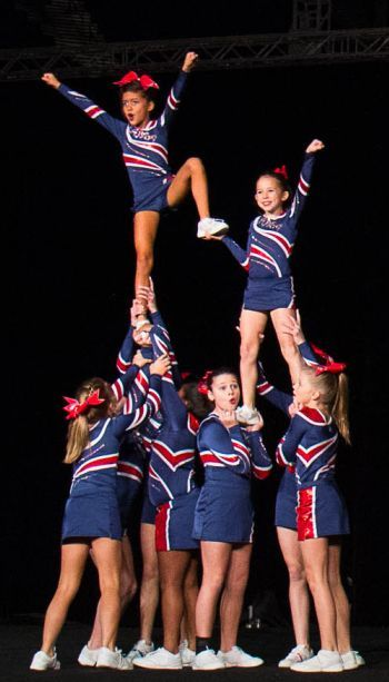 Easy, small squad pyramid. Youth cheerleading. Hitch lib and prep. Small cheer team stunts. Competition cheer. Stunt and choreo ideas.