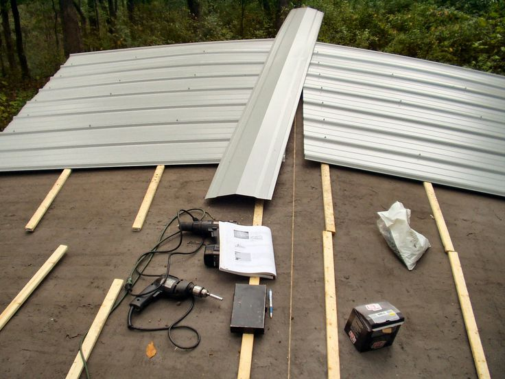 Use 3-inch white sheet metal screws with neoprene washers on the ridges in the metal sheeting until the roof is covered with corrugated metal. Description from metalrooftodays.blogspot.com. I searched for this on bing.com/images