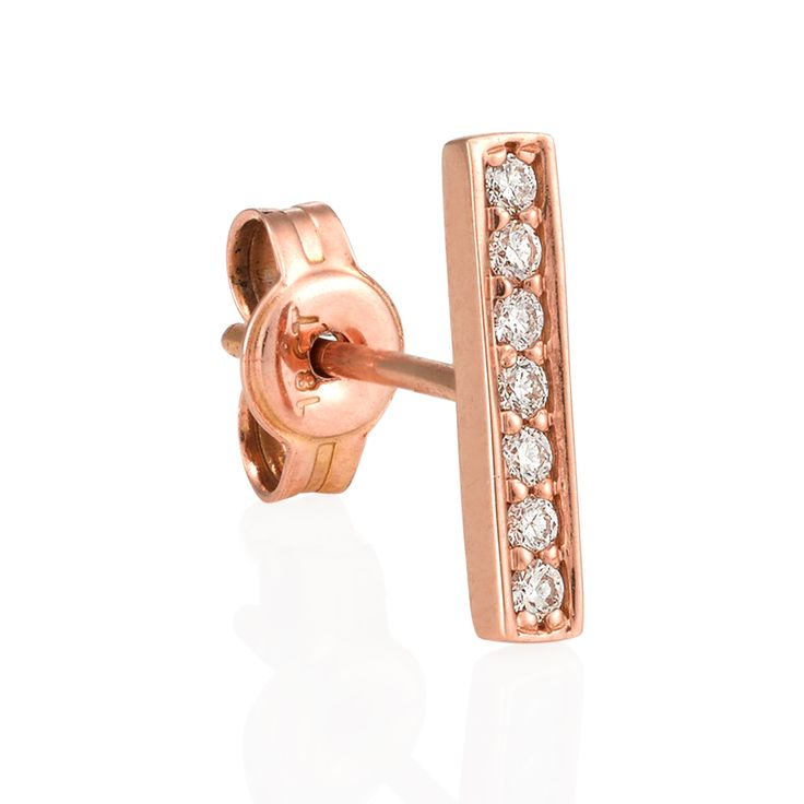 Maxi Bar Earrings – in 18kt Rose Gold with Diamonds  Sold individually, these dainty bar earrings bring new meaning to versatility in earrings. Gorgeous to wear alone, interesting to wear both on one ear, or trendy worn in combination with any other earrings in your personal collection. Play around and make the look your own! For a pair select quantity 2. www.finejewels.com.au #needlepiercing#earpiercing# #australianfinejewels#finejewellery  #luxurydesign