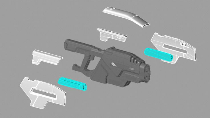 3D sci-fi gun _ exploded drawing