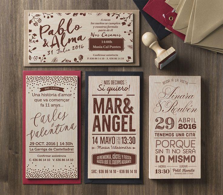Invitaciones de boda serigrafiadas sobre madera Más