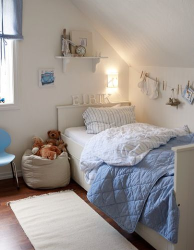 white and blue child's bedroom- this is sweet and comfortable :)