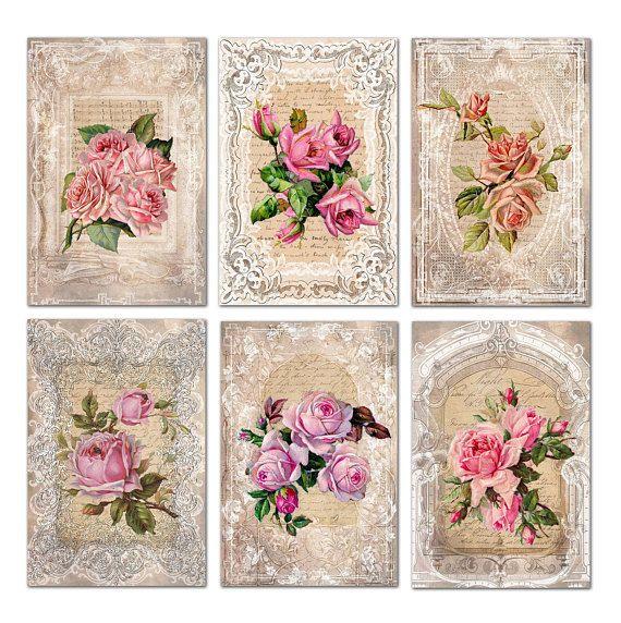 French vintage home decor printable digital download Pink rose