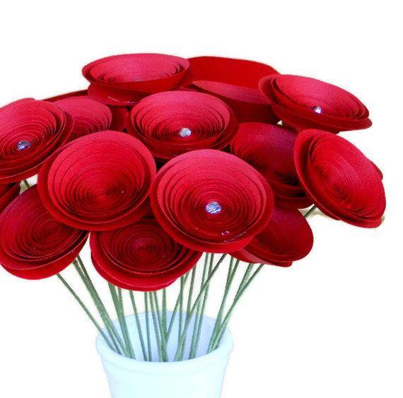 Romantic Valentine's Bouquet, Two Dozen Long Stem Paper Flowers, 1st Anniversary Gift, Paper Anniversary. $55.00, via Etsy.