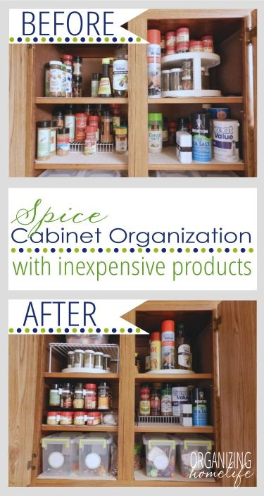 How to Organize Your Spice Cabinet ~ Organize Your Kitchen Frugally Day 3 | Organizing Homelife