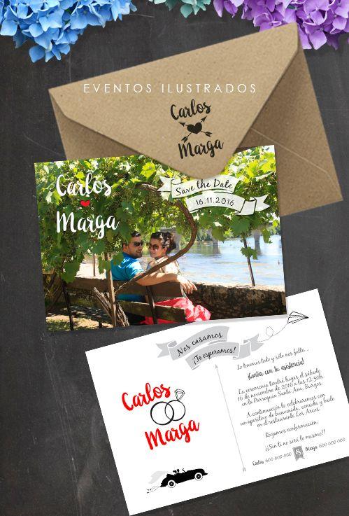 Invitaciones con foto, luce tus fotos preboda en tu invitación!