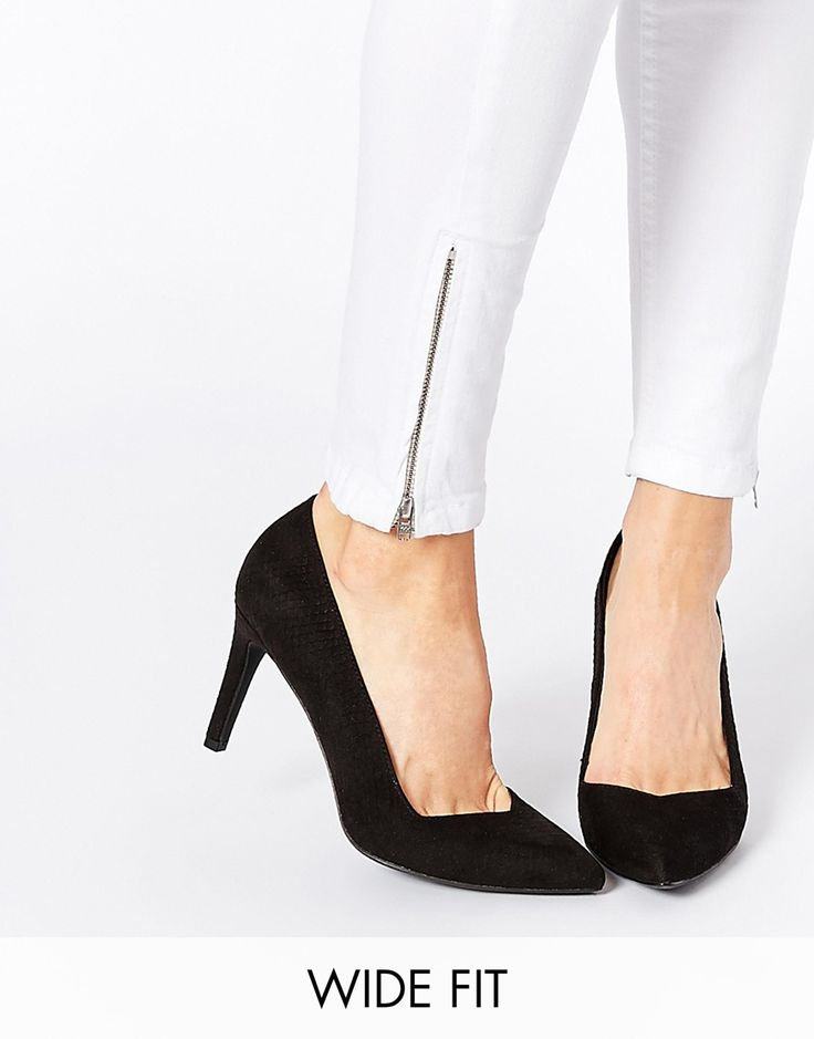 Shop New Look Wide Fit Sweetheart Snake Effect Heeled Shoes at ASOS.