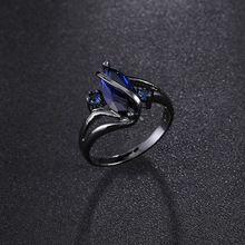 Moda Owalne Crossed Sapphire Pierścień Kobiet Czarny Złoty Wypełniony Biżuteria W Stylu Vintage Obrączki Dla Kobiet Mężczyzn 1 sztuk(China (Mainland))